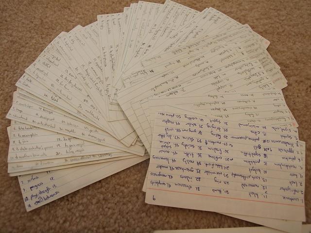 flashcards con parole scritte a penna  by Konrad Lawson